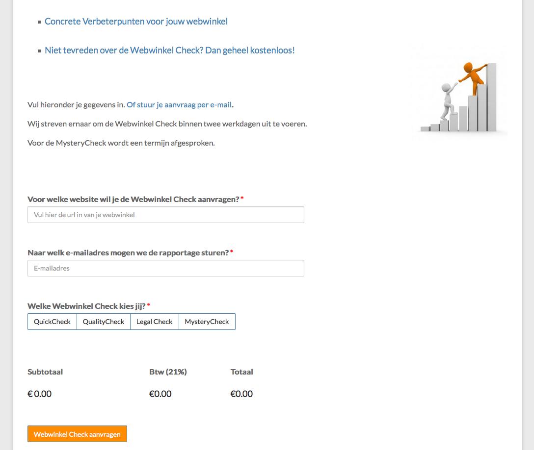 Huidig formulier Webwinkel Check aanvraag