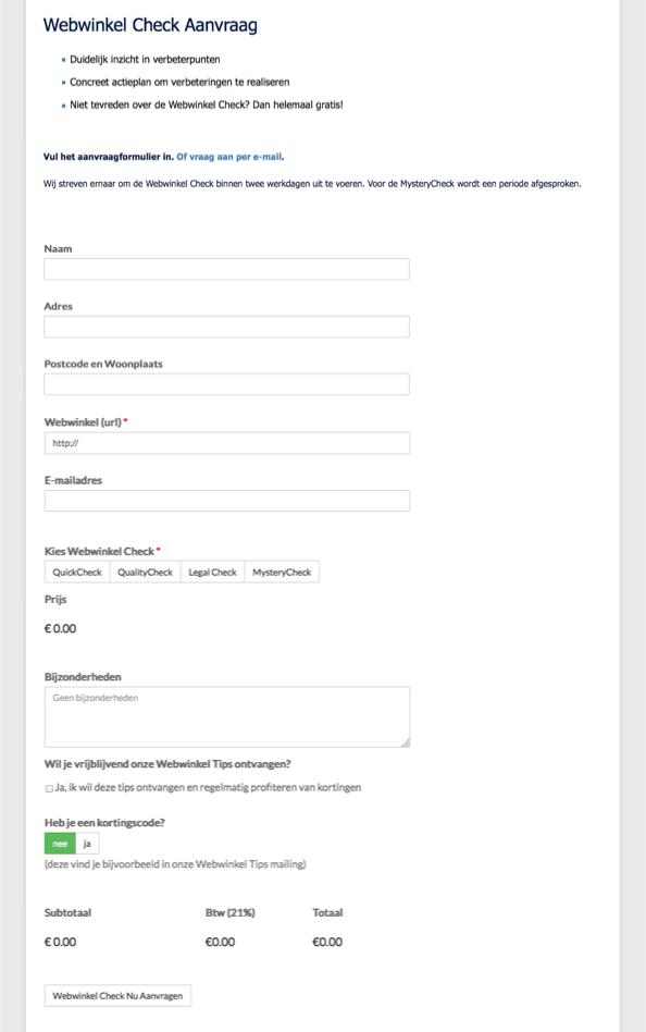 Vorig formulier Webwinkel Check aanvraag
